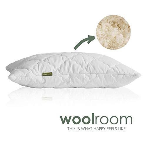 Almohada de lana británica natural y pura de woolroom, con cubierta de algodón de 200tc