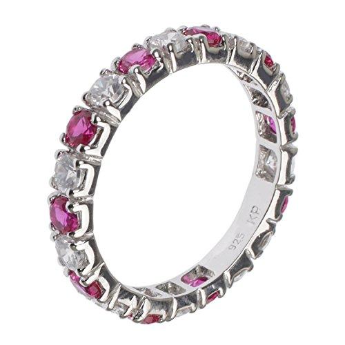 Jewel24 925 Sterling Silber rhodiniert - Memory Ring mit Zirkonia pink weiß 54 (17.2)