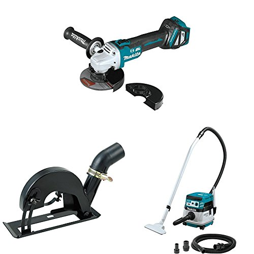"Makita XAG17ZU 18V LXT Brushless 4-1/2""/5"" Cut-Off/Angle Grinder, AWS, 4-1/2""-5"" Dust Extraction Cutting Guard, XCV08Z 18V X2 (36V) Brushless 2.1-Gal HEPA Filter Dry Dust Extractor/Vacuum, AWS"
