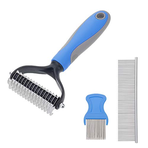 hugttt 3 Pack Pet Grooming Tool Dematting Comb Undercoat Rake for Cats & Dogs, Easy for Removing Mats Tangles and Shedding