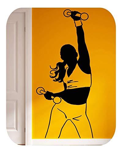 Wohnzimmer Wanddekorationen, Fitness Sexy Frau Wandaufkleber Hantel Sport Mädchen Vinyl Aufkleber Fitnessstudio Schlafzimmer Kunst Wanddekoration Sport Übung Club Poster EA961-benutzerdefinierte Far