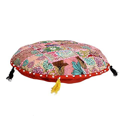 Aheli Tabouret repose-pieds rond en coton Style indien traditionnel patchwork 33 x 46 cm