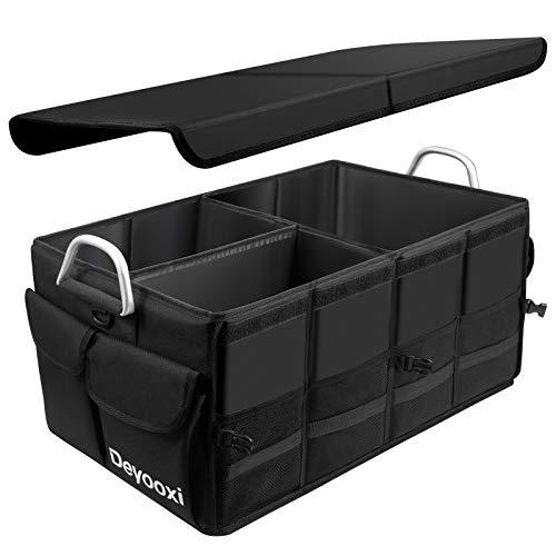 Deyooxi Kofferraum Organizer,Kofferraumtasche mit Deckel,Auto organizer kofferraum,Auto Kofferraum Box mit Antirutsch-Klett,Wasserdicht Autotasche mit Rutschfesten Haken für Auto PKW SUV