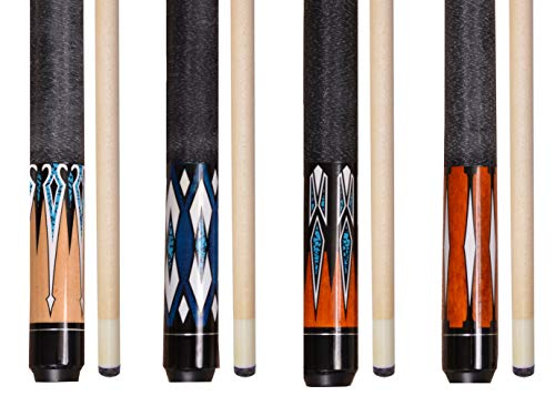 """Lot of 4-58"""" 2 Piece Hardwood Canadian Maple Pool Cue Billiard Table Stick 18-21 Oz with Steel Joint (set-11)"""