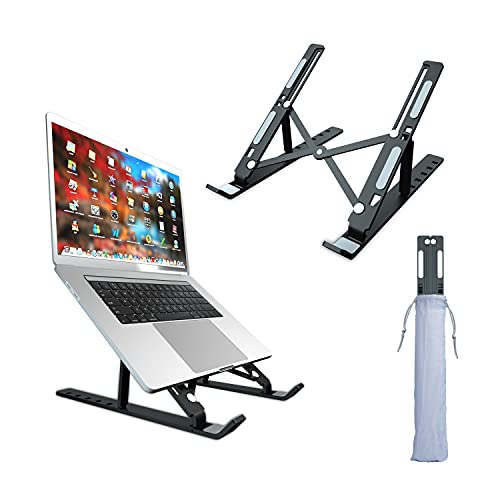 Laptop Stand, Aluminum Laptop Stand for Desk, Foldable Portable Computer Stand, Ergonomic 6 Angles Adjustable Portable Laptop Stand, Compatible with 10 to 15.6 Inches Notebook Computer, Black