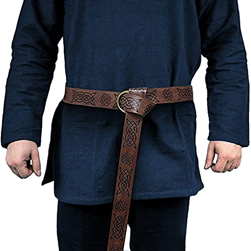 Medieval Viking Belts for Men Women- Celtic Knot Embossed Dark Browm PU Leather O Ring Knight Belt Retro Renaissance Cosplay Costume Accessory
