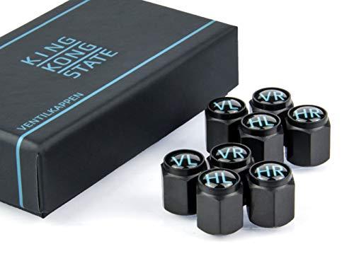 King Kong State ® Ventilkappen - 8X beschriftete Auto-Ventilkappen mit Dichtung l rostfreies ABS-Material l schwarz