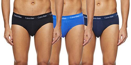 Calvin Klein 3 Pack Briefs-Cotton Stretch Slips, Azul (Black/Blue Shadow/Cobalt Water DTM WB 4Ku), L (Pack de 3) para Hombre