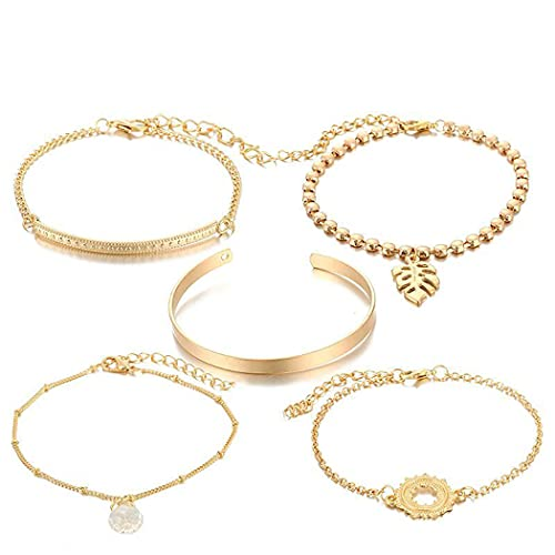 Belasa Boho Leaf Bracelet Gold Hollow Sun Bracelets Set Pulseras de cristal Accesorios de mano ajustables Joyas para mujeres y niñas