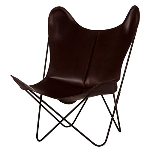 Fauteuil AA Butterfly - Structure Noire, Housse Cuir (Cuir Chocolat)