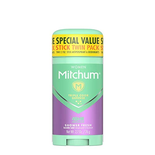 Mitchum Antiperspirant Deodorant Stick for Women, Triple Odor Defense Invisible Solid, 48 Hr Protection, Shower Fresh, 2.7 oz (pack of 2)