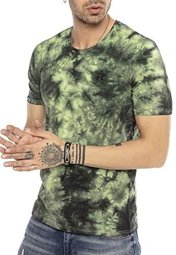 Herren T-Shirt Batik Kurzarm Streetstyle 90er Jahre Revival Gelb XXL