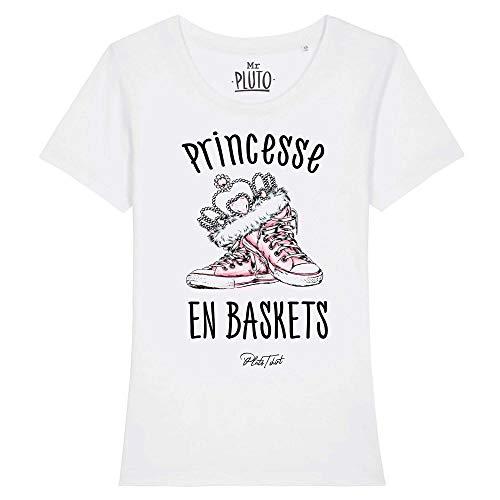 Pluô Damen-T-Shirt, Prinzessin, Sneaker, 100 % Bio-Baumwolle, originelle Geschenkidee Gr. XXL, weiß