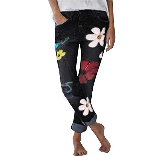 NPRADLA Damen Hose in Übergröße mit Blumendruck Elastisch Lose Beiläufige Röhrenhüftjeans für Mädchen