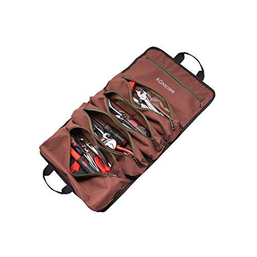 KGMcare Super Roll Tool Zipper Bags Canvas Tool Organizer Bag Tool Pouch Sling Tote Carrier Tool Bag Includes 5 Zippered Pockets for Electrician and Garden Dark Brown