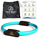 ProBody Pilates Ring Circle - Fitness Magic Circle, Yoga Ring, Inner Thigh Toner, Pilates Equipment for Strength, Flexibilty, Abs, Core and Legs - Includes Workout Bag for at Home Exercise (Blue)