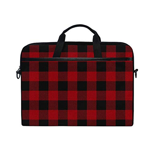 JOYPRINT Laptop Sleeve Case, Red Black Plaid Geometric 14-14.5 inch Briefcase Messenger Notebook Computer Bag with Shoulder Strap Handle for Men Women Boy Girls