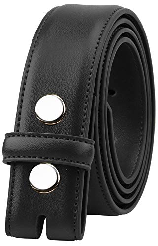 Falari Replacement Genuine Leather Dress Belt Strap Without Buckle Snap on Strap 33mm fit 35mm Buckle - Black - M