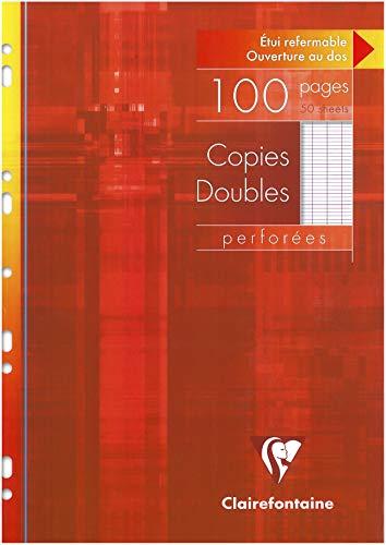 Clairefontaine 4721C Packung Kanzleibögen DIN A4 (gelocht, 100 Blatt, französische Lineatur) 1 Pack weiß