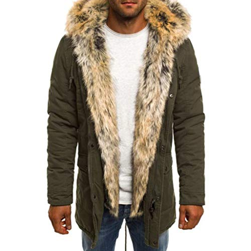Men's Winter Parka with Faux Fur Jacket Cotton Coat Windproof Down Down Jacket Outwear Overcoat Army Green