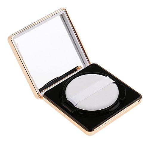 MagiDeal Luxueux Portable Coussin D'air Boîte Carrée Vide à Bb CC Crème Conteneur Cas avec Miroir et Puff - Accessoire de Maquillage - Blanc