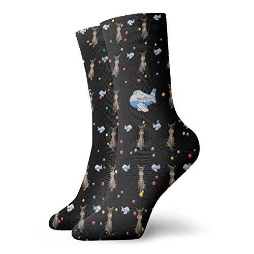 Kevin-Shop Mooie ezel Hündin en cartoon vliegtuig compressiesokken crew sokken korte enkel atletische vochtinbrengende wikkeling