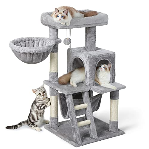 """rabbitgoo Cat Tree Cat Tower for Indoor Cats, Multi-Level Cat House Condo with Large Perch, Scratching Posts & Hammock, Cat Climbing Stand with Toy for Small Cats Kittens Play Rest, 39"""" Tall, Gray"""
