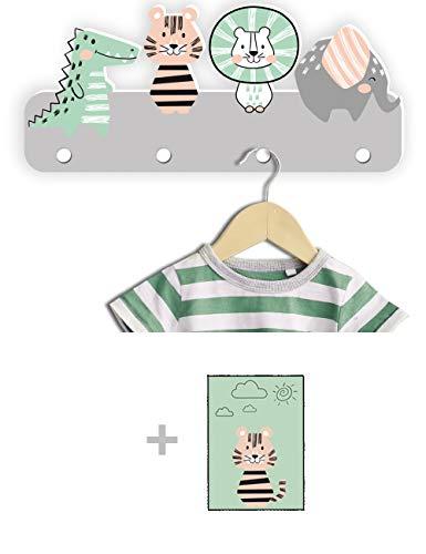 Kindsblick ® Junglefreunde Kindergarderobe in Grau inkl. DIN A4 Poster - Garderobe mit 4 Kleiderhaken für Kinder - Wunderschöne Deko für jedes Kinderzimmer - Maße (38 x 15 x 1 cm)
