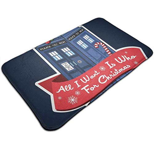 "HUTTGIGH - Felpudo antideslizante con texto en inglés ""Doctor Who Tardis All I Want For Christmas"""