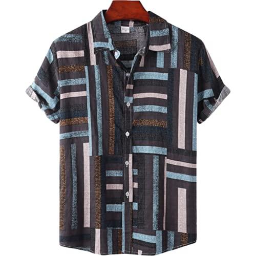 Camisas Casuales para Hombre, Moda, Rayas de Colores en Contraste, impresión, Tendencia Simple, Personalidad, Salvaje, Camisa de Manga Corta, Verano L