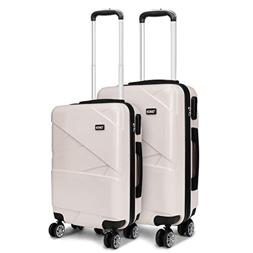 Kono 2 Pcs Set Lightweight Suitcase Carry on Luggage 20'+24' Hard Shell Trolley with Combination Lock (Beige)