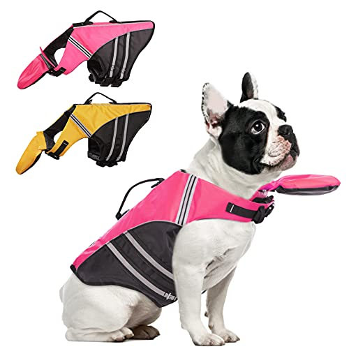AOFITEE Dog Life Jacket French Bulldog Life Vest, Ripstop Safety Pet Lifesaver Swimsuit with Rescue Handle, Adjustable Reflective Dog Preserver Floatation Vest for Swimming, Pink S