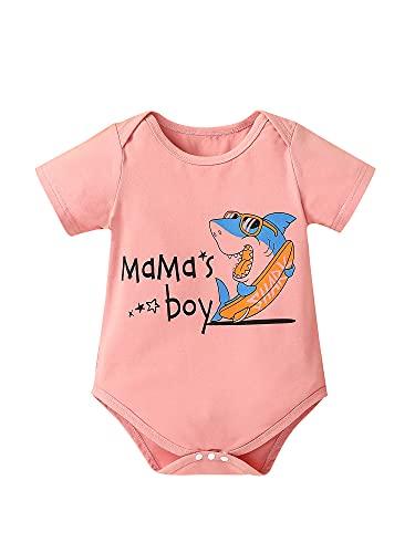 Mono de verano para recién nacido, diseño de tiburón y letra con estampado de manga corta y cuello redondo
