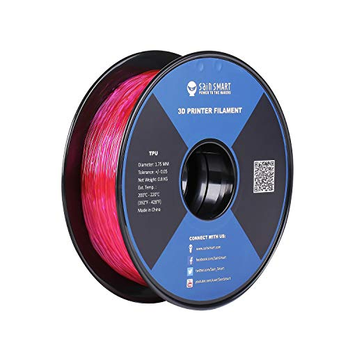 SainSmart Flexible TPU 3d filamento For 3d Printers stampante 3d, 1,75 mm, 800 G Spool (rosa)