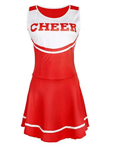 Hamour Womens' Cheerleader Costume Mini Skirt Fancy Dress Uniform, Medium Red1