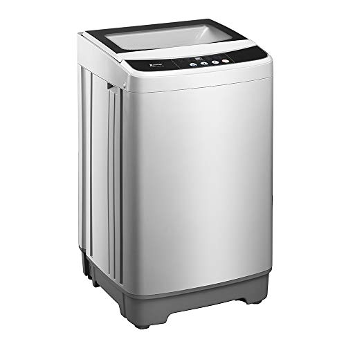 Portable Compact Automatic Drums Washing Machine, Washer and Dryer Combo, Washing Machine, Dewatering Machine with 10 Programs and 8 Water Level Options, Led Display, 13.3lbs Capacity, Gray