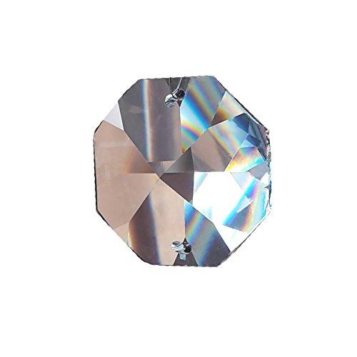 30x Kristall Koppen 14mm 2-Loch Octagon Achteck Regenbogenkristall Feng Shui 30% Pbo Bleikristall Kristallbehang für Kronleuchter und zum basteln