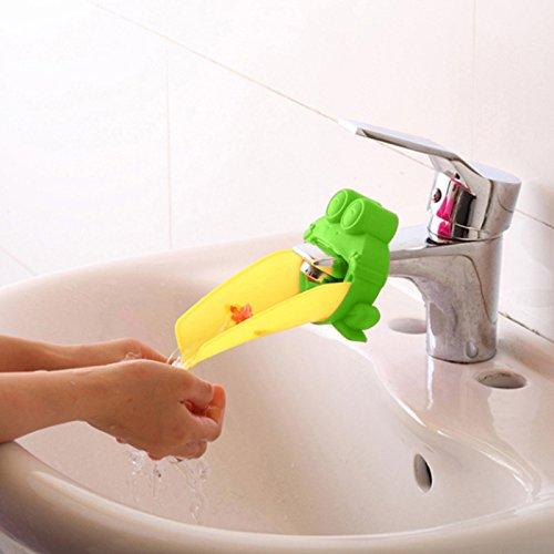 Demiawaking Süß Wasserhahn Verlängerung Extender für Kinder Baby Hände waschen Badezimmer-Cartoon Frosch Design (Grün) - 4
