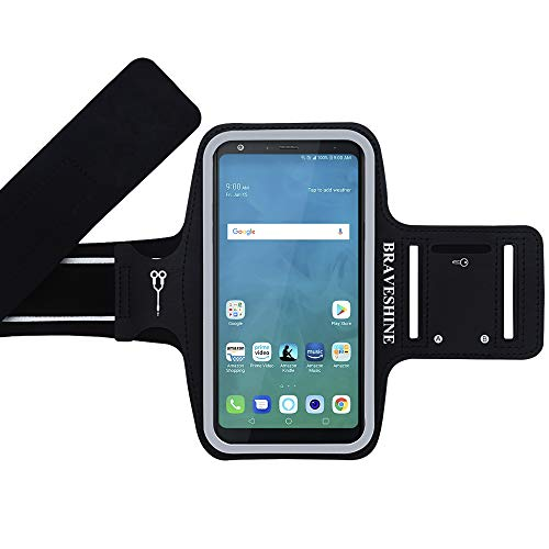BRAVESHINE Running Armband for Gym Sport Exercise Workout - Phone Holder Armband for LG Stylo 4/Stylo 3, LG G6/G7/G7 G8 Thinq, LG V10/V20/V40, K20 Plus, LG V10/V30/V40, G5 Plus Screen Up to 6.5In