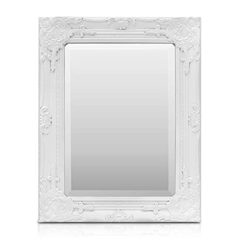 Rococo by Casa Chic - Shabby Chic Wandspiegel - 42 x 53 cm - Massief hout - Grote Franse spiegel in vintage stijl - Antiek wit