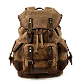 WUDON Men Travel Backpack, Genuine Leather-Waxed Canvas Shoulder Hiking Rucksack (Khaki)