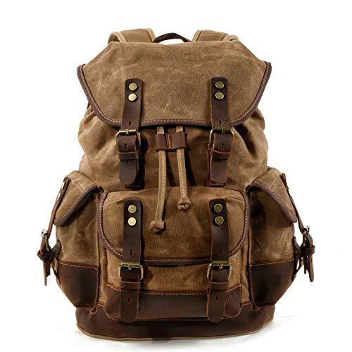 WUDON Men Travel Backpack, Genuine Leather-Waxed Canvas Shoulder Hiking Rucksack (Khaki)