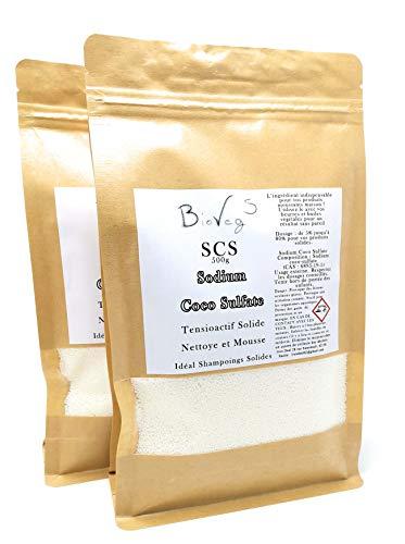 BioVeg5 - Sodium Coco Sulfate - Tensioactif en Granulé pour Fabrication de Savons, Shampoings, Cake Vaisselle, Bombe de bain maisons - Écologique et Économique (1 kg)