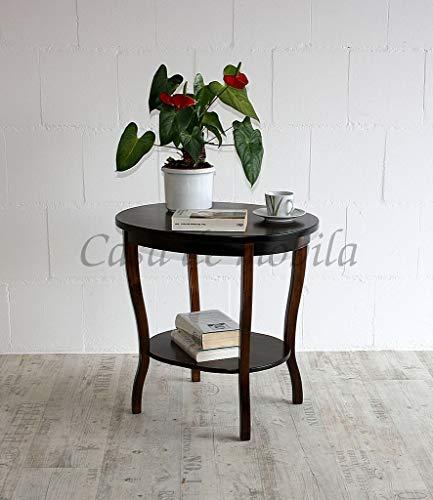 CASA Massivholz Tisch Beistelltisch Teetisch oval 57 - Holz massiv kolonial