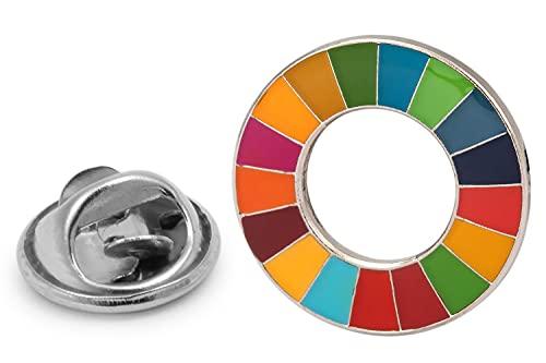 Gemelolandia - Pin de Solapa Agenda 2030 - Pin 25mm - Pin circular multicolor | Pines Originales Para Regalar | Para las Camisas, la Ropa o para tu Mochila | Detalles Divertidos