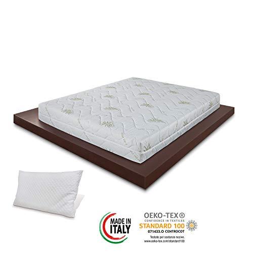 Materassimemory.eu - Materasso Wave Top Singolo Mis. 80x190 Alto 23cm Anatomico, Imbottitura Fibra Ipoallergenica, Igienico, Confortevole, Spedito Sottovuoto Arrotolato, 100% Made in Italy