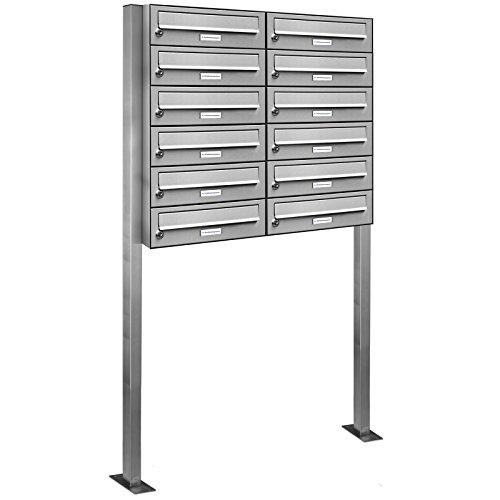 AL Briefkastensysteme 12er V2A Edelstahl Stand Briefkasten rostfrei als 12 Fach Briefkastenanlage Freistehend DIN A4 in Postkasten Design modern