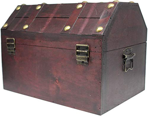 """Pirate Treasure Chest Box 13/""""x 9/""""x 9/"""" with Antique Lock Key Distressed Brown"""