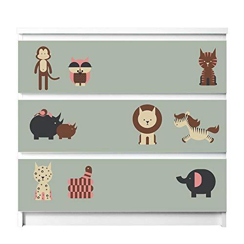 banjado Möbelaufkleber für Kinder-Zimmer | Selbstklebende Möbelfolie passend für IKEA Malm Kommode | Wandtattoo Deko mit Design Eule und Co B für 3 Schubladen