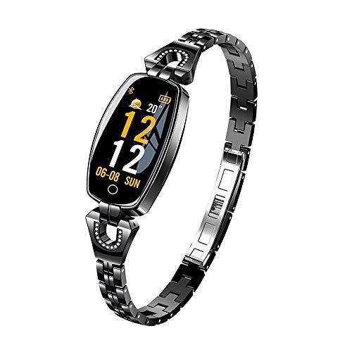 HX0945 Fashion AK16 Smart Watch for Women Heart Rate Sleep Tracker Sport Bracelet H8 Wristband IP67 Waterproof Watch Best Gift for Girl,Black